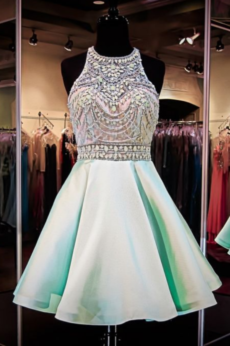 Mint Green Homecoming Dresses,Chiffon Homecoming Dress,Beaded Prom Dresses,Halter Cocktail Dresses,Sweet 16 Gowns,2015 Evening Gowns