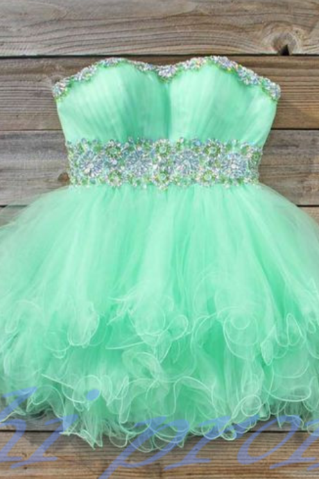 Mint Green Homecoming Dress,Strapless Homecoming Dresses,Tulle Homecoming Dress,Fitted Party Dress,Short Prom Gown,Modest Sweet 16 Dress,Cocktail Gowns,Short Evening Gowns
