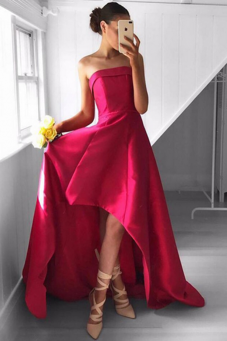 Chic Strapless High-Low Rose Pink Prom Dress Ruched, Charming Prom Dress, Sexy Homecoming Dress, Formal Dress for Teens, Junior Prom Dress, Prom Dresses