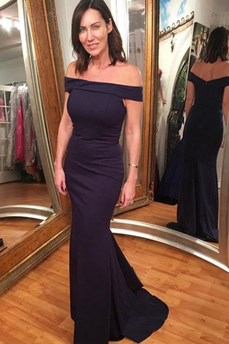 Gorgeous Navy Blue Off The Shoulder Evening Gown,Mermaid Party Dress Long Evening Gowns