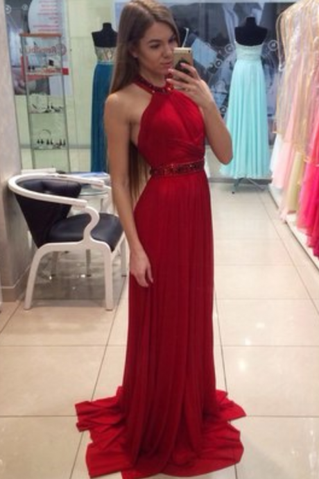 Elegant Red Long Prom Dress, Charming Prom Dress, Halter Prom Dress, Beading Prom Gown, A-line Prom Dress, Formal Evening Dress
