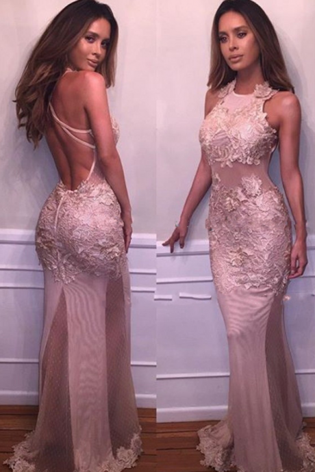 Prom Gowns Sexy Backless Halter Mermaid Prom Dresses 2017 New Arrival Vestido de festa Long Pink Lace Evening Gown