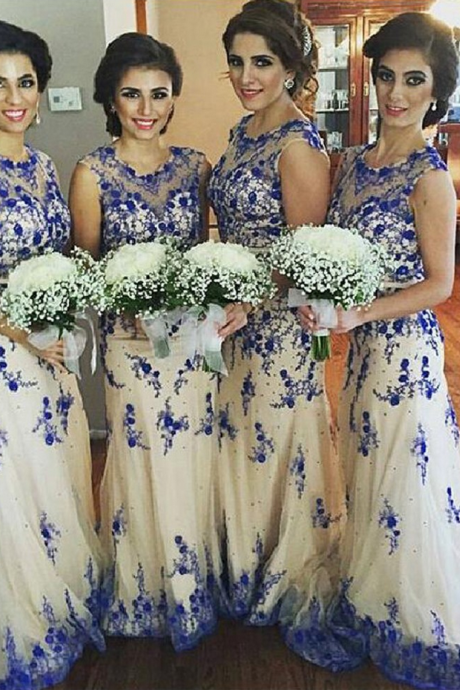 Lace Bridesmaid Dress,Long Bridesmaid Gown,Royal Blue Bridesmaid Gowns,Simple Bridesmaid Dresses,Cheap Bridesmaid Gowns,Vintage Brides Dress,Bridesmaid Gowns