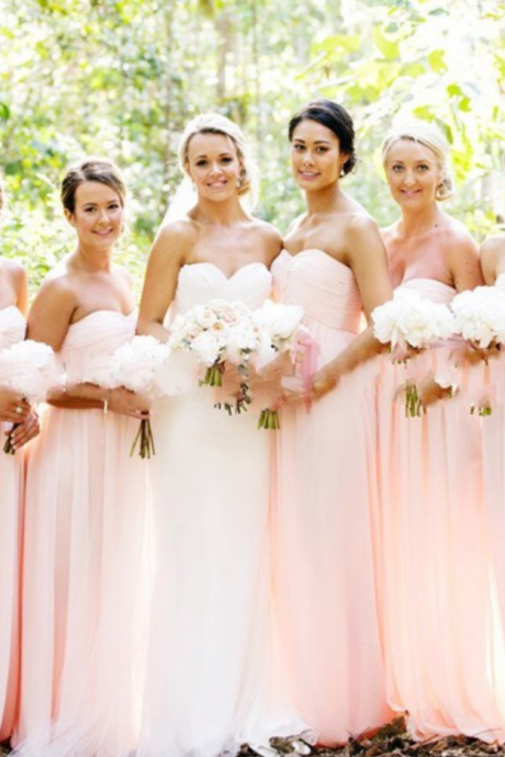 Blush Pink Bridesmaid Gown,Pretty Bridesmaid Dresses,Blush Pink Prom Gown,Simple Bridesmaid Dress,Cheap Wedding Dresses,Fall Wedding Gowns,Sweetheart Bridesmaid Dresses,2016 Spring Bridesmaid Gown
