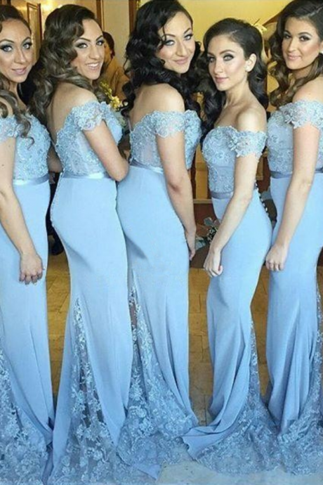 Lace Bridesmaid Dress,Long Bridesmaid Gown,Off the Shoulder Bridesmaid Gowns,Mermaid Bridesmaid Dresses,Blue Bridesmaid Gowns,2016 Bridesmaid Dress,Vinatge Bridesmaid Gowns