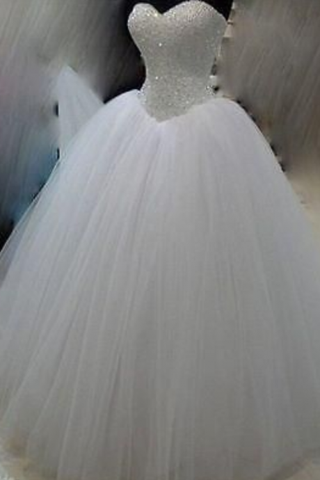 Wedding Dresses New White/Ivory Beadding Wedding Dress Bridal Gown