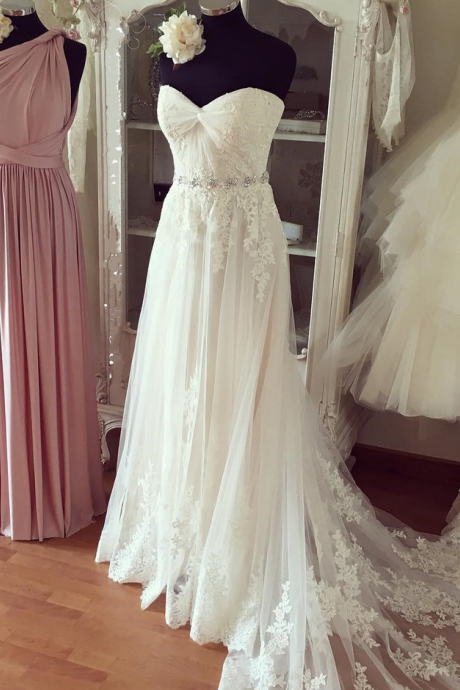 Wedding Dresses, Wedding Gown,Pleated Sweetheart Lace Appliques Beach Wedding Dresses Boho Wedding Gowns