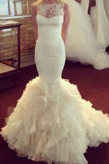 Wedding Dresses,Charming Lace Mermaid Wedding Dress ,Organza Ruffles Wedding Dress Wedding Dress for Bride,Bridal Dress for Women ,Mermaid Bridal Gowns,Lace Bridal Gowns,Organza Wedding Dress,Wedding Dress Plus Size