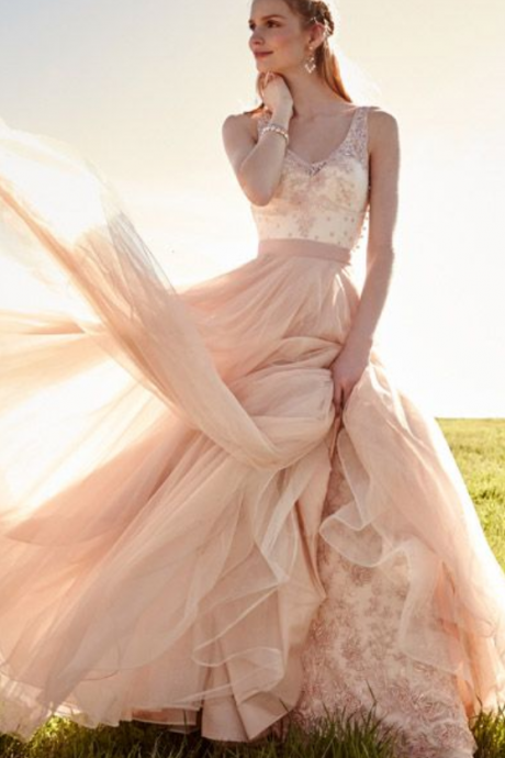 Lovely Wedding Dresses,Long Wedding Gown,Tulle Wedding Gowns,Ruffled Bridal Dress,Romantic Wedding Dress,Unique Blush Pink Brides Dress