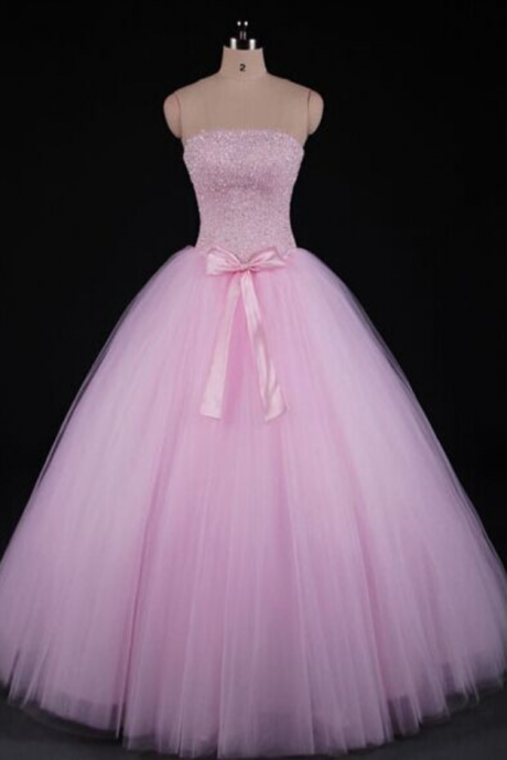 Charming Prom Dress,Strapless Long Prom Dress,Elegant Tulle Pink Prom Dress,Evening Formal Dress