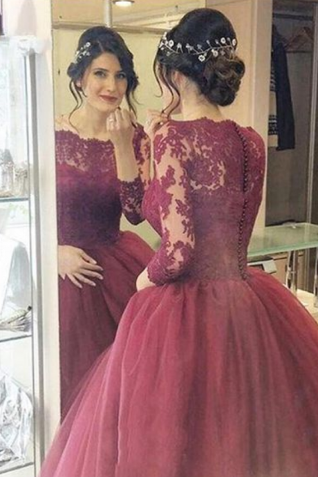 Elegant Appliques Tulle Evening Dress,Long Sleeve Evening Dresses,Formal Dress,Sexy Prom Dress