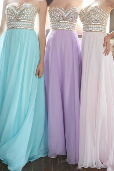 Strapless Sweetheart Beaded A-line Chiffon Floor-Length Prom Dress, Evening Dress