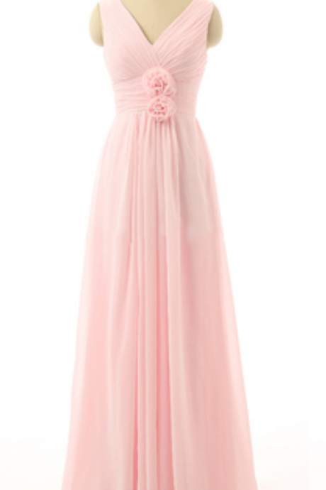 Pink Long Chiffon Prom Dress Featuring Plunge V Ruched Bodice with Floral Accent