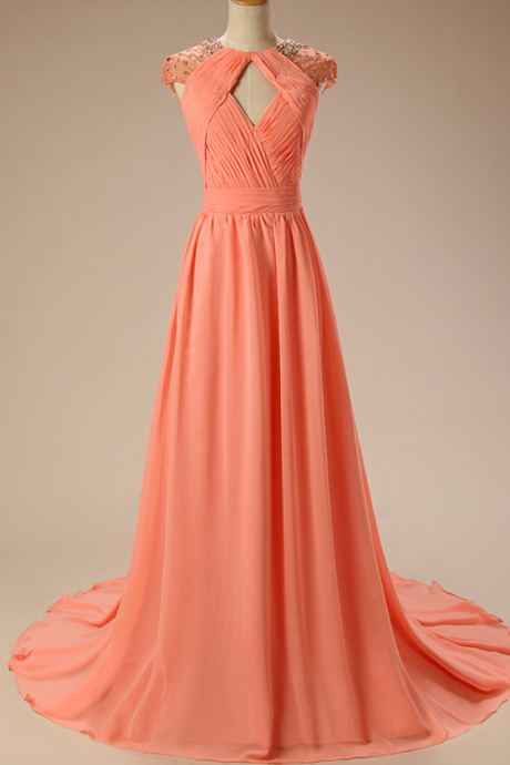 Round Neck Cap-Sleeved Ruched Beaded Chiffon A-line Long Prom Dress, Evening Dress