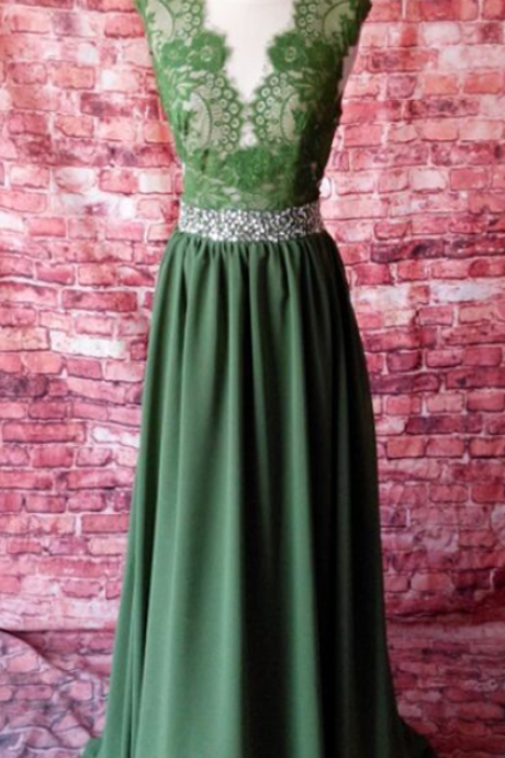 New Arrival Long Evening Dress,Formal Evening Gown,A Line Backless Chiffon Prom Dress,Prom Dresses