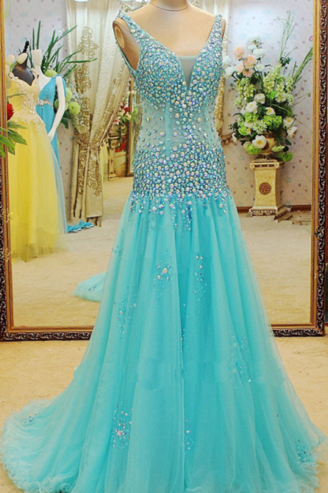 A Line Prom Dress,Long Evening Dress,Tulle Prom Dresses,Blue Formal Evening Gown