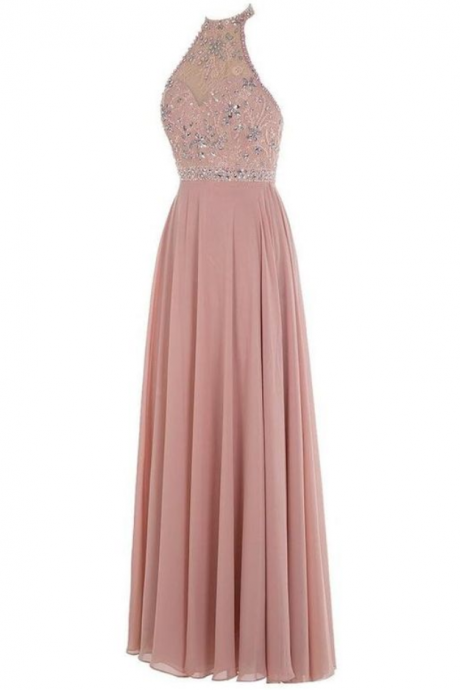 New Arrival Sexy Prom Dress,Long Prom Dresses,Chiffon Evening Dress,Backless Prom Gown