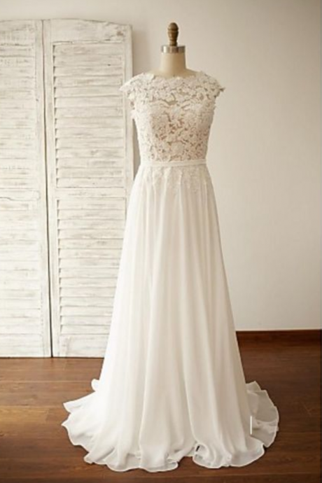New Arrival White Chiffon Prom Dress with Lace,Backless Evening Dress,Long Wedding Party Dress