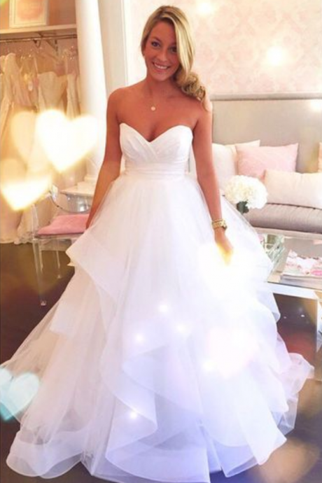 Charming Prom Dress,White Wedding Dress,Organza A Line Wedding Gown