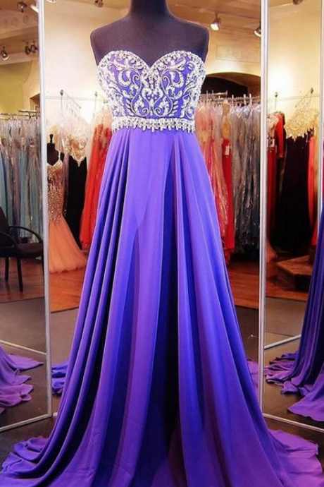 Charming Prom Dress,Long Prom Dresses,Beaded Prom Dress,Chiffon Evening Dresses