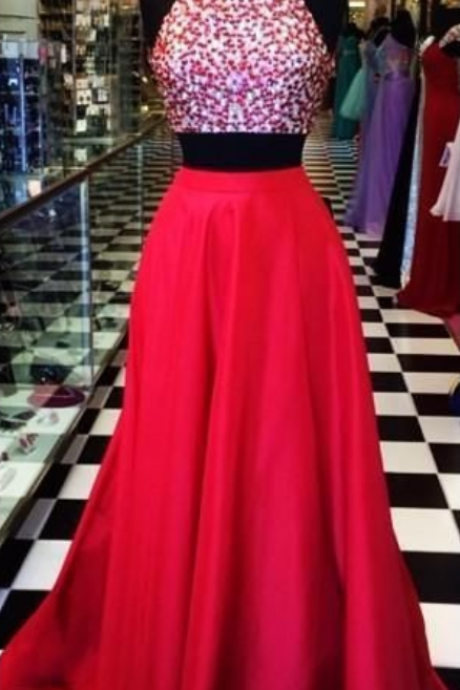 High Neck Two Piece Prom Dress Red Long Evening Dress Beaded Crystal Sexy Open Back Sleeveless Formal Gown