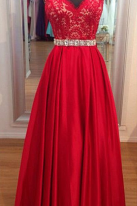 Charming Prom Dress,V Neck Prom Dress,Long Evening Dress with Lace Appliques,Evening Gown