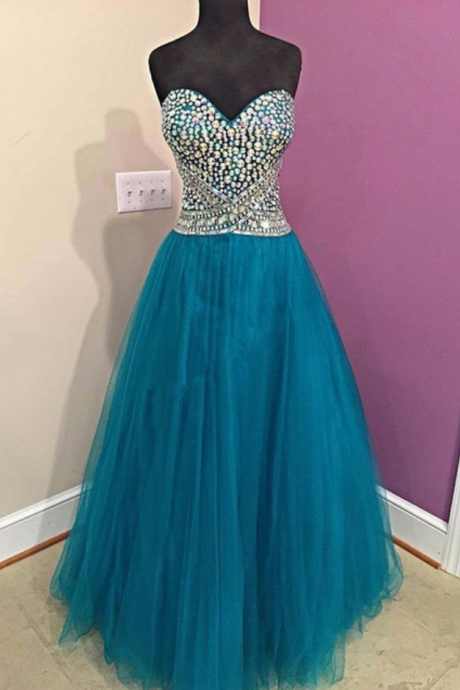 Sexy Evening Dress ,Sweetheart Crystal Prom Gown,Ball Gown Prom Dress,Long Homecoming Dress