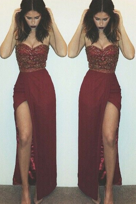 Charming Prom Dress,Beaded Side Slit Prom Dresses Sweetheart Neck Sleeveless Sexy Long Evening Gowns