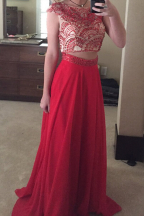 Chiffon Prom Dress,Two Piece Prom Dress,Red Evening Gown,Formal Dress