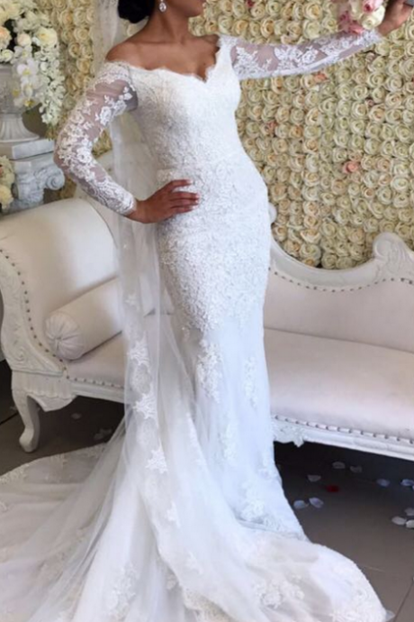 Appliques Lace Wedding Dress, Sexy Mermaid Wedding Dresses, Gergeous Long Sleeve Wedding Gowns, Sexy Bridal Dresses