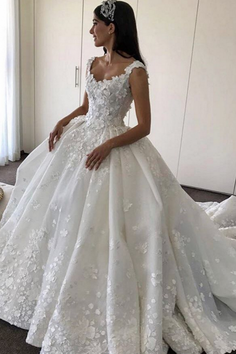 Lace Flowers Appliques Wedding Dresses,Ball Gowns Bridal Dresses