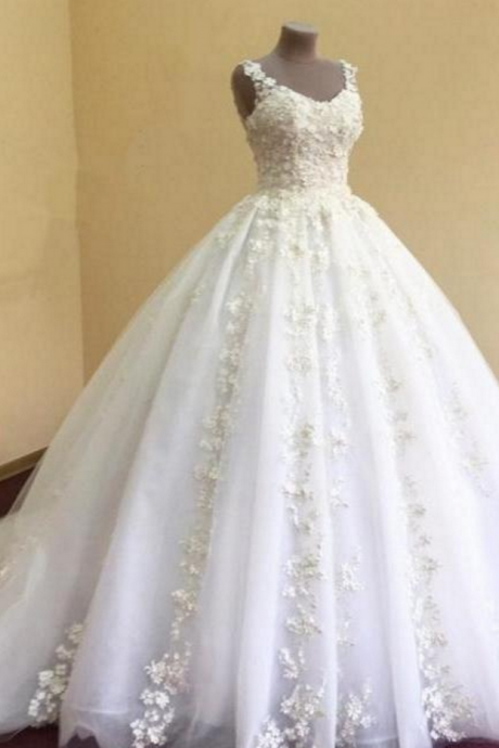 Appliques Wedding Dresses, Elegant Wedding Gown, lace Wedding Dresses, White Wedding Dresses, Organza Wedding Dresses, Ball Gowns Wedding Dress ,Wedding Dresses