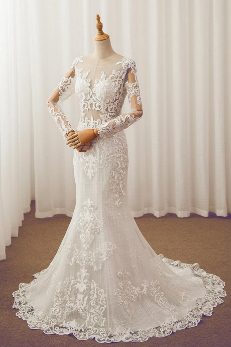 Wedding Dresses, Bridal Dresses, Mermaid Wedding Dresses, Long Sleeve Wedding Dresses