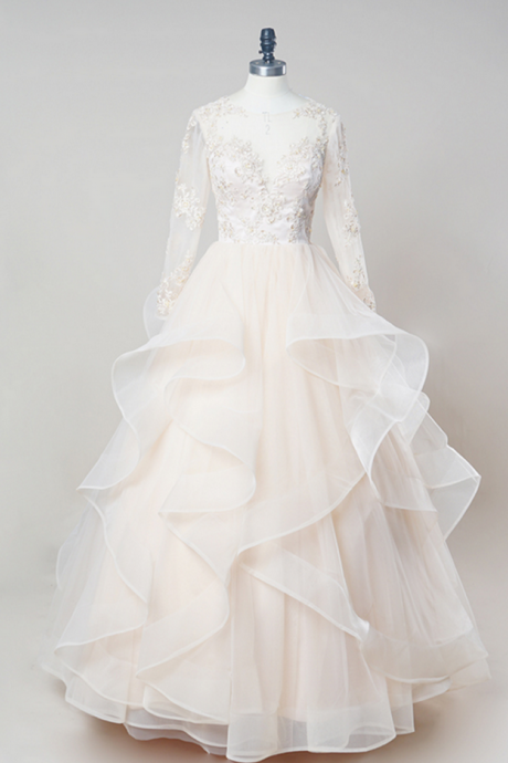 Long Wedding Dress, Ball Gown Wedding Dress, Organza Wedding Dress, Long Sleeve Bridal Dress