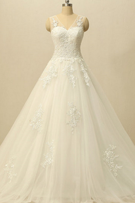White Wedding Dress,A Line Wedding Dresses,Wedding Gown