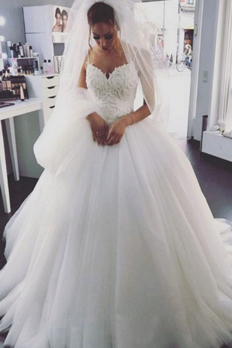 Spaghetti Straps Ball Gown Wedding Dress