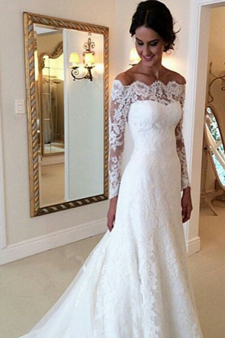 Wedding Dresses,Elegant Wedding Dresses,Wedding Dress,Long Sleeve Wedding Dresses,Sexy Backless Wedding Dress,Lace Wedding Dresses