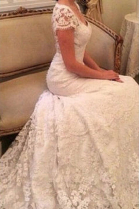 Cap Sleeve White/Ivory Wedding Dress Bridal Gown Custom Size