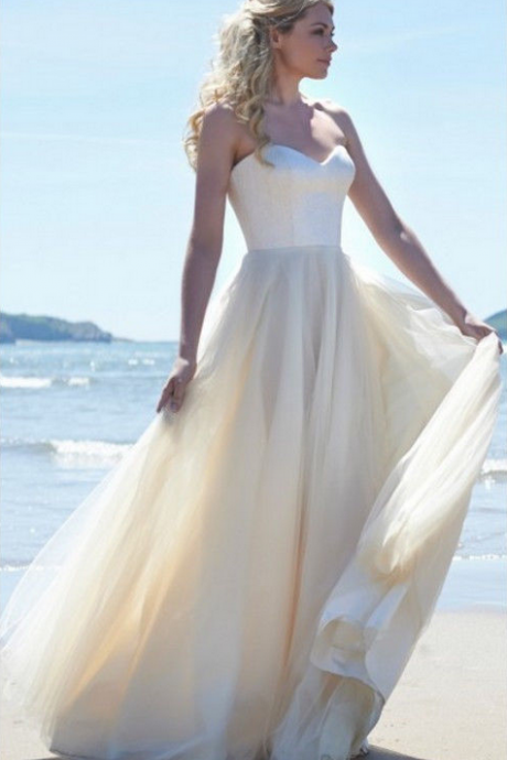 Fashion Simple White Ivory Wedding Dress Custom