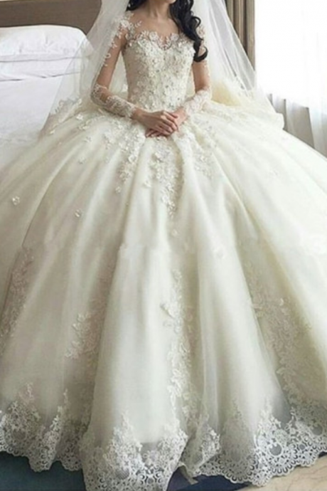 Ball Gown V-Neck Long Sleeves Appliques Wedding Dresses