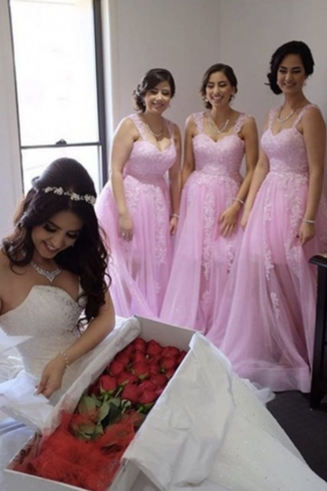 Pink Straps Appliques A-Line Long Bridesmaid Dresses