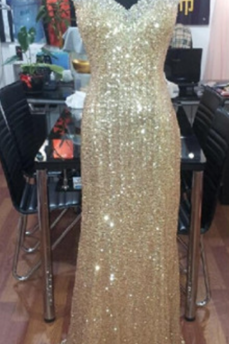 Sequin Evening Dress,Long Evening Dress,Sparkly Evening Dress