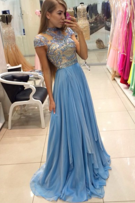 New Arrival Charming Prom Dress,High-Neck Prom Dress,A-Line Prom Dress,Chiffon Prom Dress,Beading Evening Dress
