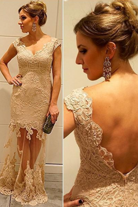 New Arrival Champagne Lace See Through Mermaid Prom Dresses,Backless Evening Dresses,Sexy Evening Gown,Prom Gown