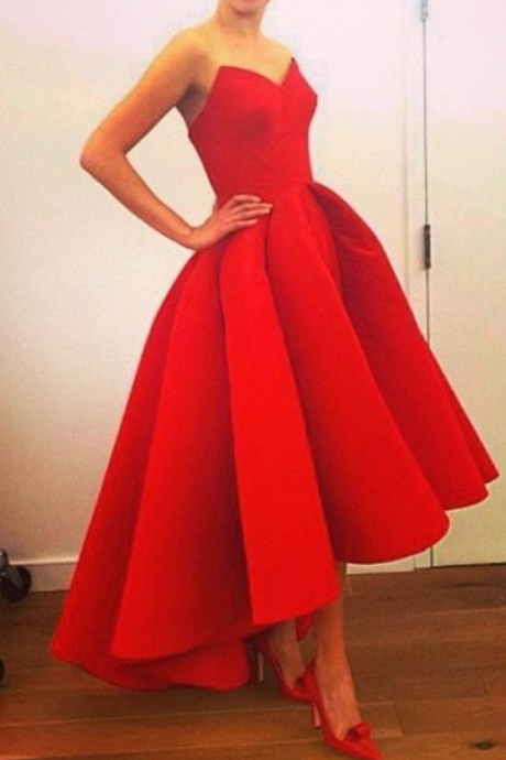 Fashion 2015 Chiffon Prom Dress Short In Front Long Back Red Ruffled Evening Party Dresses Sweetheart Lace Up Back Homecoming Dresses Prom Gown