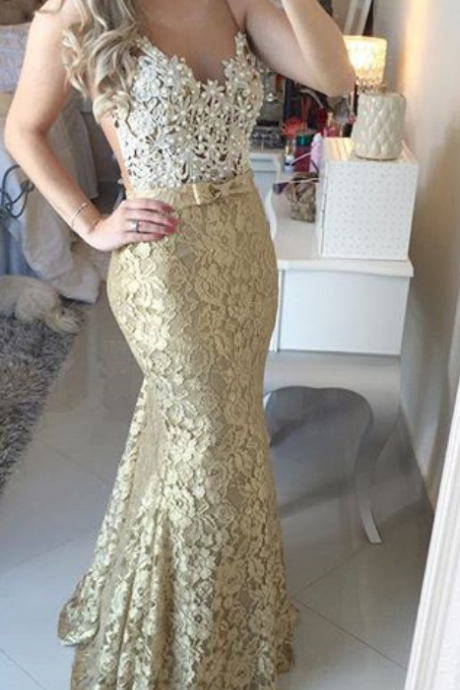 Lace Long Evening Dresses For Women Mermaid Prom Dress Formal Party Gown