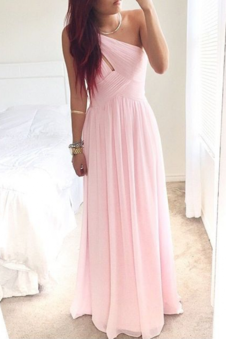 New Arrival Pink One-Shoulder Prom Dress 2016, Simple Prom Dresses, Pretty Evening Dresses,Evening Gown,Floor Length Chiffon Prom Dresses