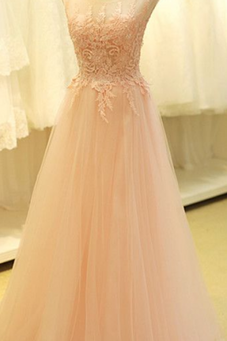 Light Pink Prom Dreess,Tulle Prom Dresses,Scoop Neck Prom Dress, Lace Appliques Party Dresses,Prom Dresses 2016,Floor Length Homecoming Dresses,Pretty Graduation Dress