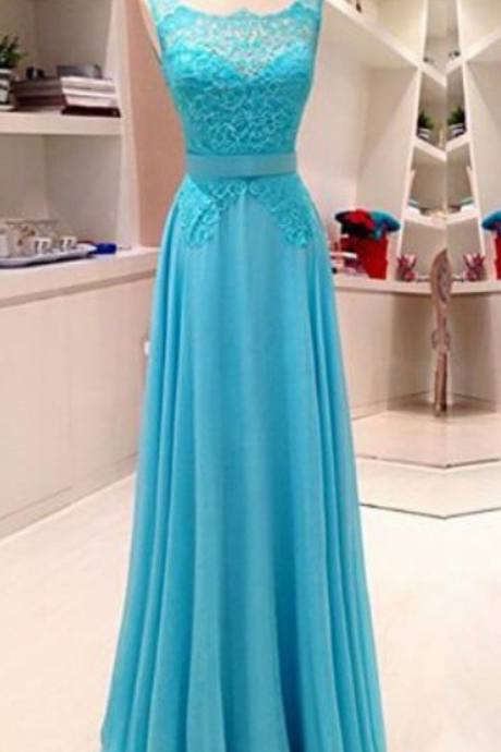 New Trend A-Line Square Neckline Chiffon Floor Length Blue Lace Appliques Backless Prom Dress