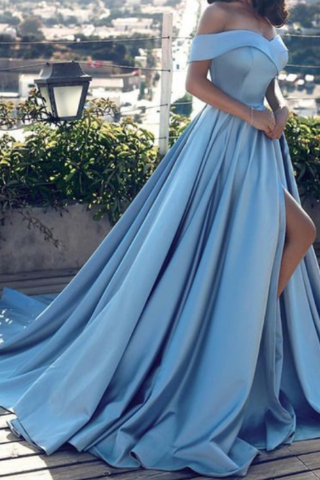 Sexy Blue Prom Dress Off Shoulder Slit Satin Long Evening Dress